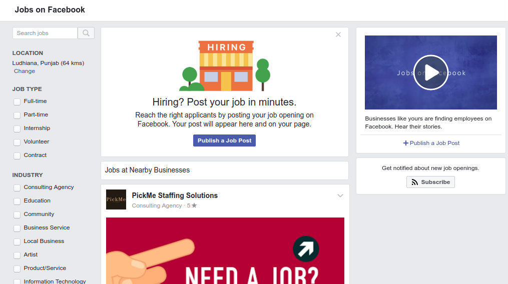 facebook job feature